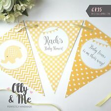 Handmade Personalised Baby Shower Bunting/Banner Decoration Elephant Yellow