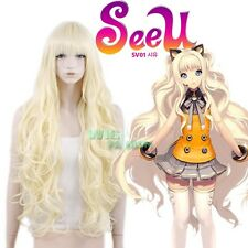 VOCALOID SeeU Long Curly Light Blonde Anime Cosplay Hair Wig