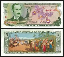 Costa Rica 5 COLONES 1990 P 236e UNC OFFER !