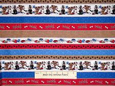 Puppy Dog Fetch Paw Prints Stripe Cotton Fabric QT #23421-BR A Dogs Life YARD