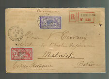 1922 St Denis France Registered cover to Melnick Czechoslovakia