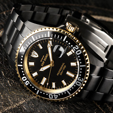 DETOMASO San Remo Automatic Mens Diving Watch Black Gold Plated 30 ATM New £359