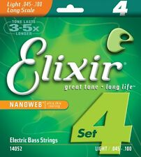 ELIXIR 14052 NANOWEB COATED BASS STRINGS , LIGHT GAUGE 4 string set  - 45 - 100