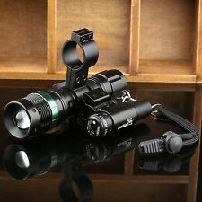 Zoomable CREE LED Flashlight & Red Laser Scope Sight Combo Dual Rail Ring Mount