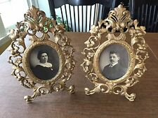 Antique 1800s GOLD CAST IRON ROCOCO VICTORIAN GILT ORNATE OVAL PICTURE FRAMES
