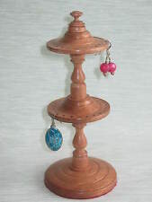 WOODEN DOUBLE EARRING STAND / HOLDER HANGER DISPLAY TREE IN MAHOGANY WOOD