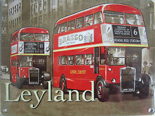 New London Transport LEYLAND BUS enamel style tin metal advertising sign 15x20cm