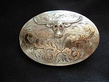 Bull Head Sterling Silver w/Ruby Eyes and Gold Belt Buckle