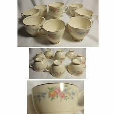 Lot of 8 Homer Laughlin FERNDALE Flowers Eggshell Nautilus Footed Tea Cups