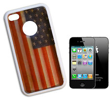 COVER FLIP COMPATIBLE FOR IPHONE 4 TRANSPARENT AMERICAN FLAG USA WINDOWED