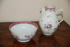 c. 1800 Chinese Qing Dynasty Porcelain Famille Rose Floral Jug & Bowl 18th 19th