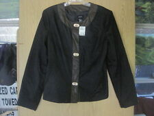 R.Q.T. WOMAN Black with Faux Leather Color JACKET  Size 10 Clasp Buttons - NWT