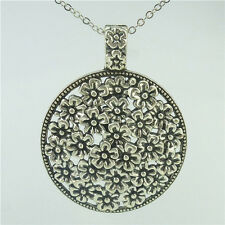 "Alloy Antique Silver Vintage Large Round Hollow Flower Pendant 24"" Necklace"