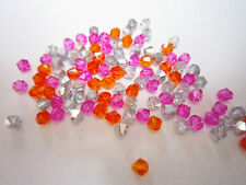 100 Austrian Crystal Glass Bicone Beads - Pink/Orange/Silver Mix- 4mm