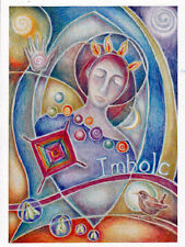 IMBOLC FESTIVAL GREETING CARD 2nd Feb Wren PAGAN Wiccan CELTIC JAINE ROSE