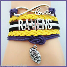 BALTIMORE RAVENS INFINITY BRACELET 5 LAYER WRAP CORD FOOTBALL NFL CHARM FANS