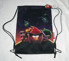 Black Angry Birds Drawstring Backpack Rovio Licensed Sling Tote Kid's Gym Bag ��