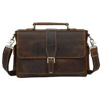 Men's Genuine Leather 13'' Laptop Case Small Briefcase Messenger Shoulder Bag
