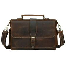 Vintage Men's Bull Real Leather Briefcase Messenger Bag Shoulder Bag 13'' Laptop