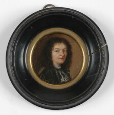 """""""Portrait of a Gentleman"""", French Oil on Copper Miniature, Late 17th Century"""
