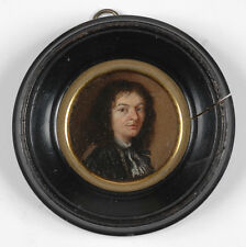 """Portrait of a Gentleman"", French Oil on Copper Miniature, Late 17th Century"