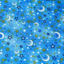 Cotton Fabric Per ½ Yard Crescent Moons & Stars Gold & White on Baby Blue by RJR