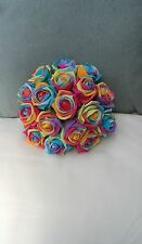 RAINBOW ROSES LILAC PINK BLUE YELLOW ORANGE POSY BOUQUET WEDDING FLOWERS BRIDE