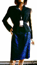Superbe Ensemble Tailleur jupe + Veste ELEGANCE ROHMER noir et bleu nuit 42 NEUF