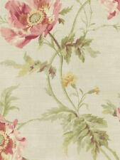 Wallpaper Designer Cottage Floral Poppy Flowers Pink Green on Light Beige