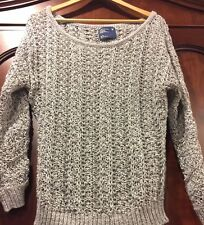 EUC American Eagle Outfitters Loose Knit Gray 3/4 Sleeve Crewneck Sweater Size M