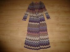 Missoni Lindex Multi Zigzag ¾ Sleeve Wrap Front V Neck Viscose Dress M UK 12