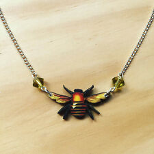 Queen B Honey Bee Handmade Charm Necklace Quirky Kitsch Unique Rockabilly