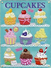 Cupcakes Baking Kitchen Vintage Retro Shabby Chic, Small Metal/Tin Sign