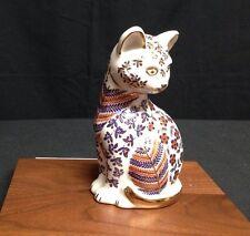 """Japanese Imari Painted Porcelain Cat Figurine:  Gold trim, Rust/Cobalt Blue, 5"""""""