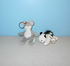 "Mini 4"" Calico Cat & Grey Mouse Keychain Bean Plush Stuffed Animals Pair"