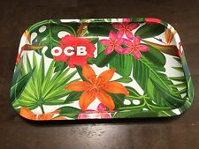 OCB® Cigarette Rolling Papers Metal Rolling Tray 11 x 7 Medium - Tropical + FREE
