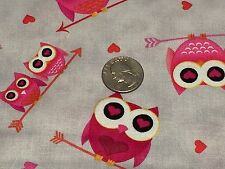 Fabric Love's All Around Owls & Arrows on Gray Cotton 1 Yard