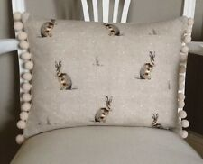 Mini Sitting Hares Linen Look Beige Shabby Chic Cushion Cover Pom Pom Trim