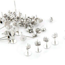 """30 Silver Plated Flat Pad Studs Earring Back Post 0.24"""" FASHION"""