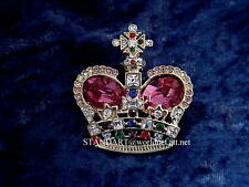 Russian Empress Alexandra CROWN BROOCH Pink Sapphire Pin  & presentation case