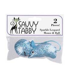 Savvy Tabby Sparkle Leopard Mouse & Ball Cat Toy 2 Pack BLUE