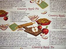 CLEARANCE FQ APPLE PIE BAKING RECIPE FABRIC COUNTRY FARM KITCHEN KITSCH COOKIN