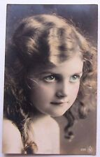 RPPC Beautiful Little GIRL with Big BLUE EYES and Ringlets Postcard 1912