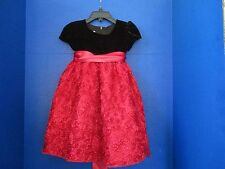 AMERICAN PRINCESS~Black with RED ROSETTES FLORAL DRESS~Toddler Girls 2T