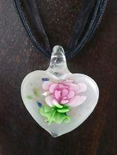 Halskette mit Anhänger aus Glas * Herz mit Blume * Rosa