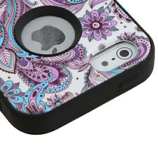 for iPhone 5 5S SE - PURPLE AZTEC FLOWER Hybrid Armor Hard&Soft Rubber Skin Case