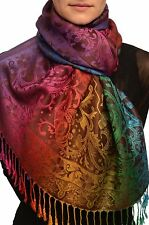 Large Ombre Paisley On Brown Pashmina With Tassels (SF002583)