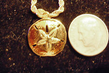 bling gold plated beach sand dollar pendant charm 24 inch chain hip hop necklace