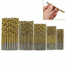 50Pcs Titanium Coated HSS High Speed Steel Drill Bit Set Tool 1/1.5/2/2.5/3mm KY