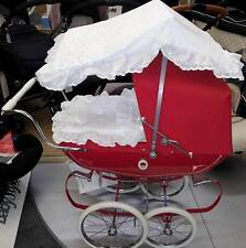 WHITE DOLLS PRAM CANOPY AND BEDDING   SET FOR SILVER CROSS AND COACH BUILT PRAM